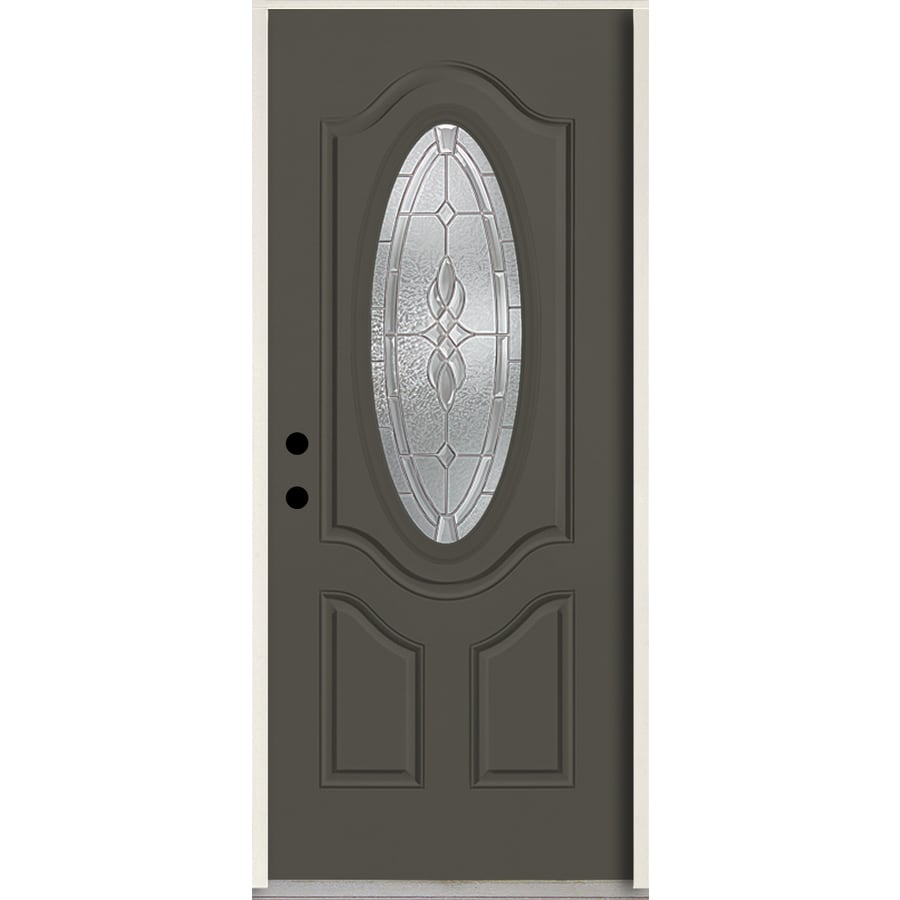ReliaBilt Hampton Oval Lite Decorative Glass Right-Hand Inswing Thunder Gray Painted Fiberglass Prehung Entry Door with Insulating Core (Common: 36-in X 80-in; Actual: 37.5-in x 81.75-in)