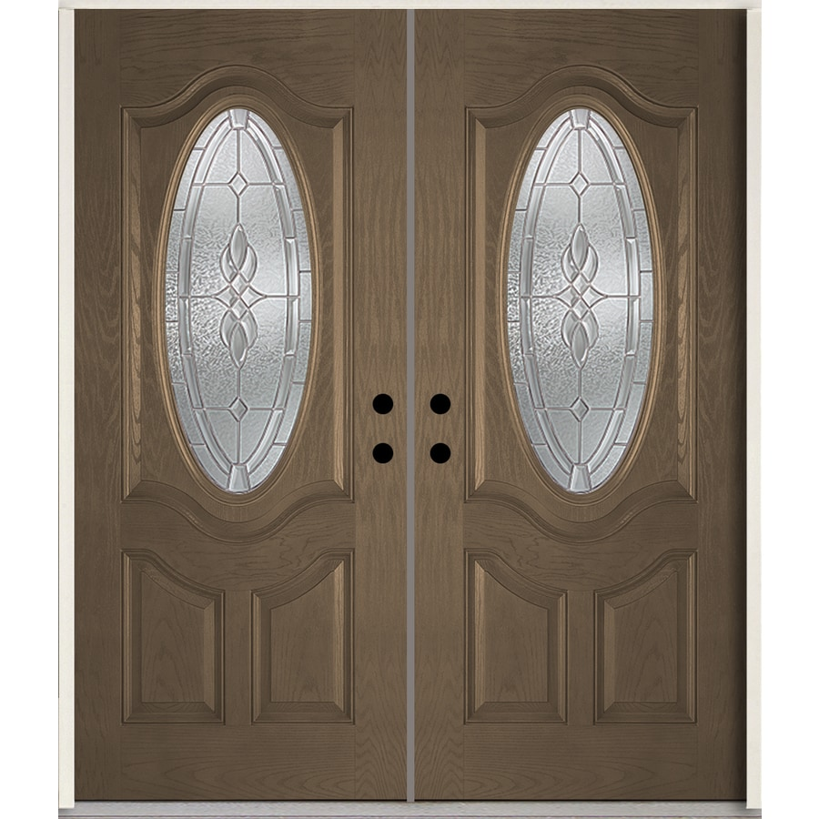ReliaBilt Hampton Oval Lite Decorative Glass Left-Hand Inswing Walnut Stained Fiberglass Prehung Double Entry Door with Insulating Core (Common: 72-in X 80-in; Actual: 73.875-in x 81.75-in)