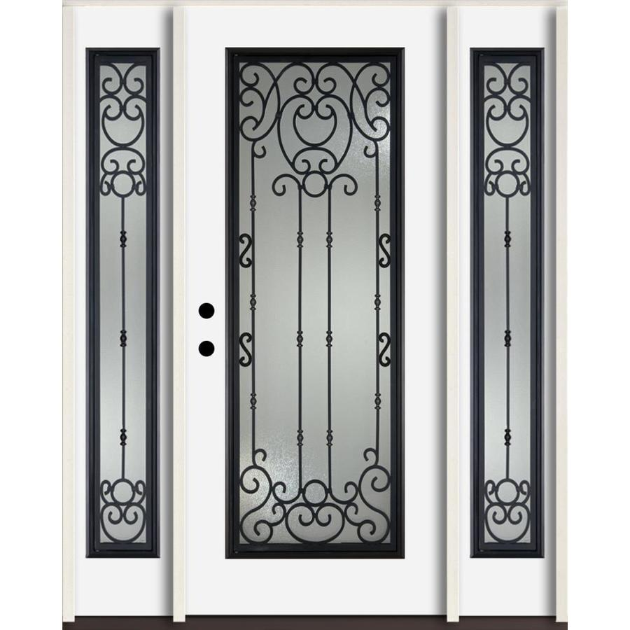 ReliaBilt Belle Meade Full Lite Decorative Glass Right-Hand Inswing Fiberglass Prehung Entry Door with Sidelights and Insulating Core (Common: 60-in X 80-in; Actual: 64.5-in x 81.75-in)