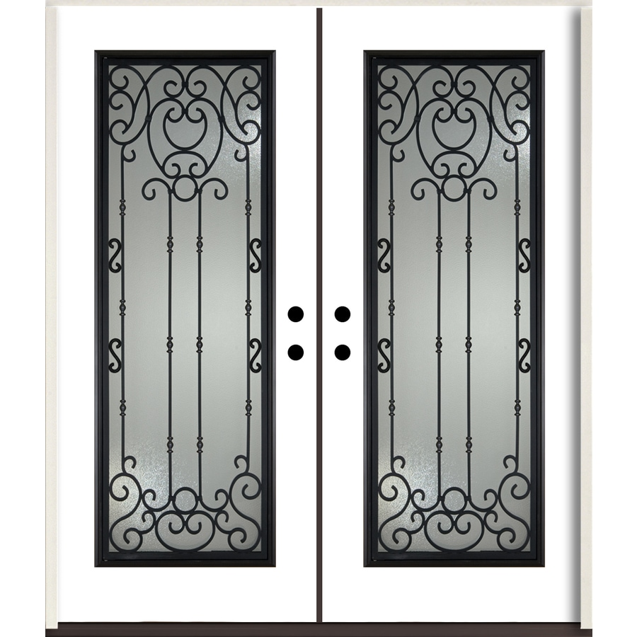 ReliaBilt Belle Meade Full Lite Decorative Glass Left-Hand Inswing Modern White Painted Fiberglass Prehung Double Entry Door with Insulating Core (Common: 72-in X 80-in; Actual: 73.875-in x 81.75-in)