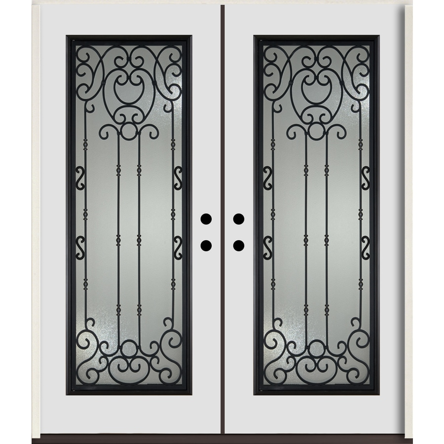 ReliaBilt Belle Meade Full Lite Decorative Glass Left-Hand Inswing Arctic White Painted Fiberglass Prehung Double Entry Door with Insulating Core (Common: 72-in X 80-in; Actual: 73.875-in x 81.75-in)