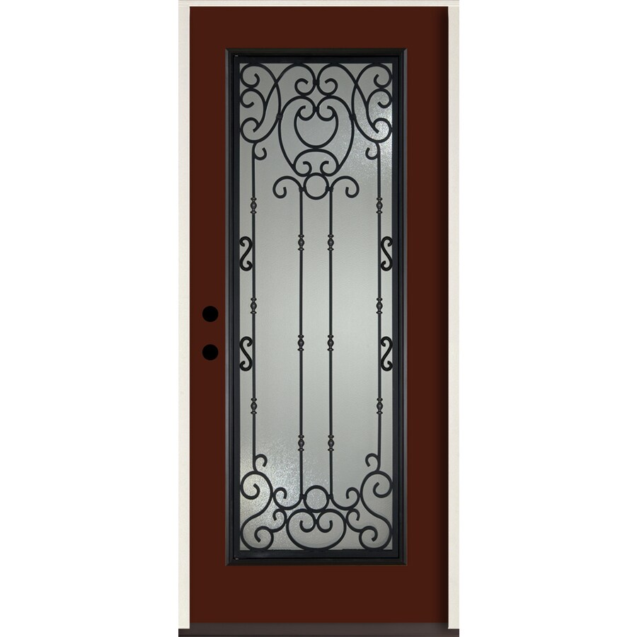 ReliaBilt Belle Meade Full Lite Decorative Glass Right-Hand Inswing Currant Painted Fiberglass Prehung Entry Door with Insulating Core (Common: 36-in X 80-in; Actual: 37.5-in x 81.75-in)
