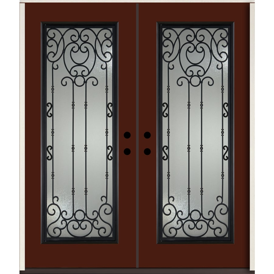 ReliaBilt Belle Meade Full Lite Decorative Glass Right-Hand Inswing Currant Painted Fiberglass Prehung Double Entry Door with Insulating Core (Common: 72-in X 80-in; Actual: 73.875-in x 81.75-in)