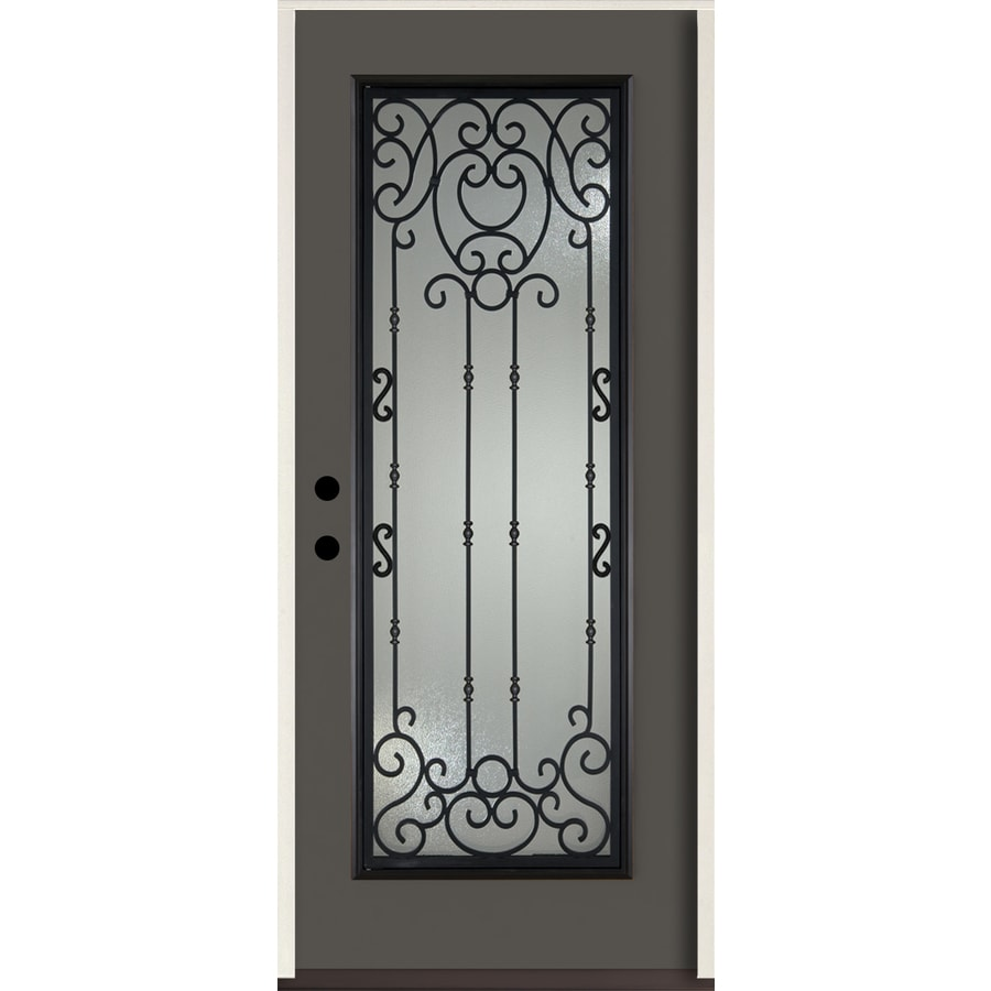 ReliaBilt Belle Meade Full Lite Decorative Glass Right-Hand Inswing Thunder Gray Painted Fiberglass Prehung Entry Door with Insulating Core (Common: 36-in X 80-in; Actual: 37.5-in x 81.75-in)