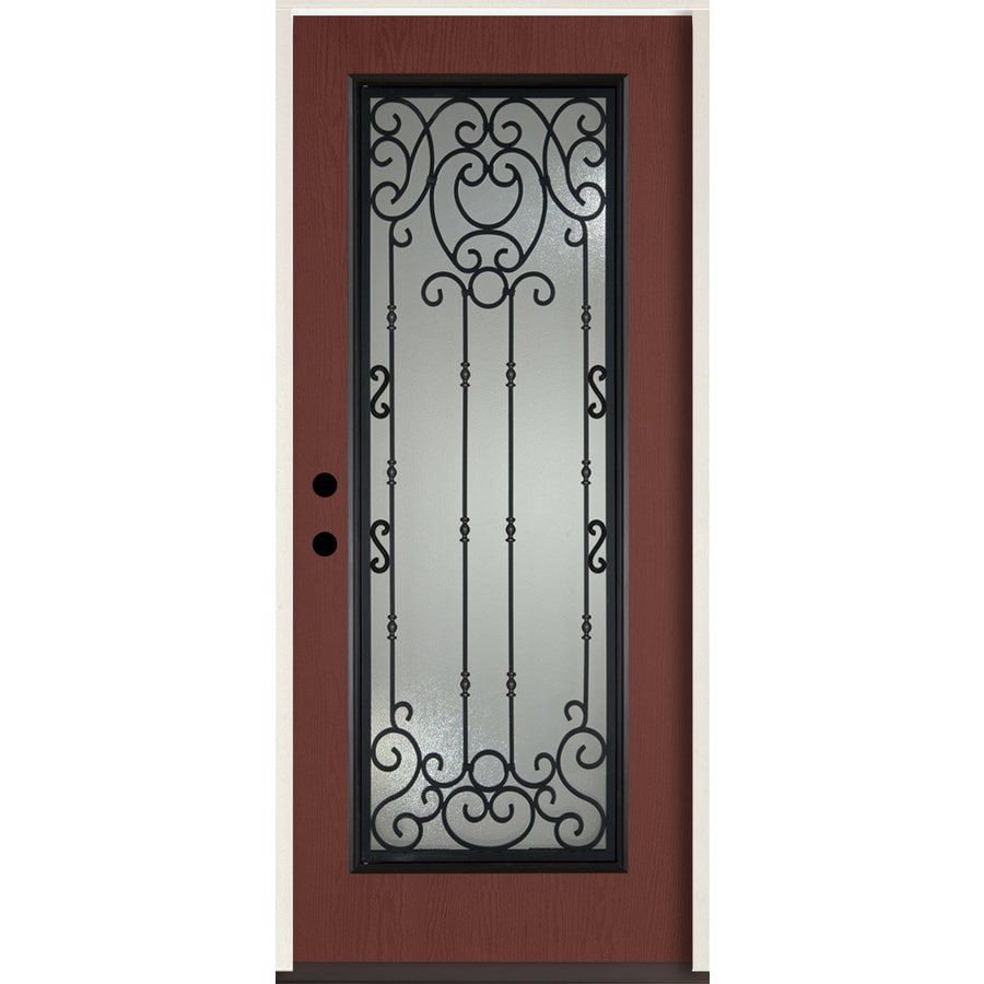ReliaBilt Belle Meade Full Lite Decorative Glass Right-Hand Inswing Wineberry Stained Fiberglass Prehung Entry Door with Insulating Core (Common: 36-in X 80-in; Actual: 37.5-in x 81.75-in)