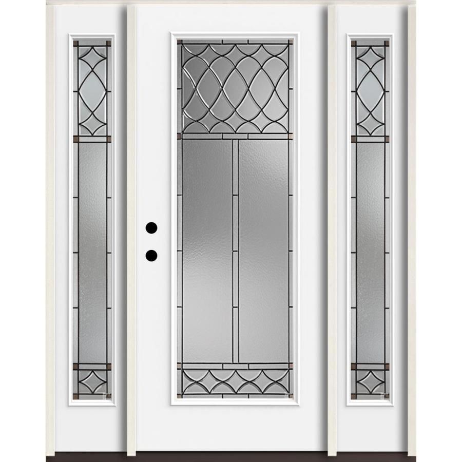 Shop reliabilt sheldon full lite decorative glass right hand inswing fiberglass prehung entry for Lowes exterior doors with sidelites