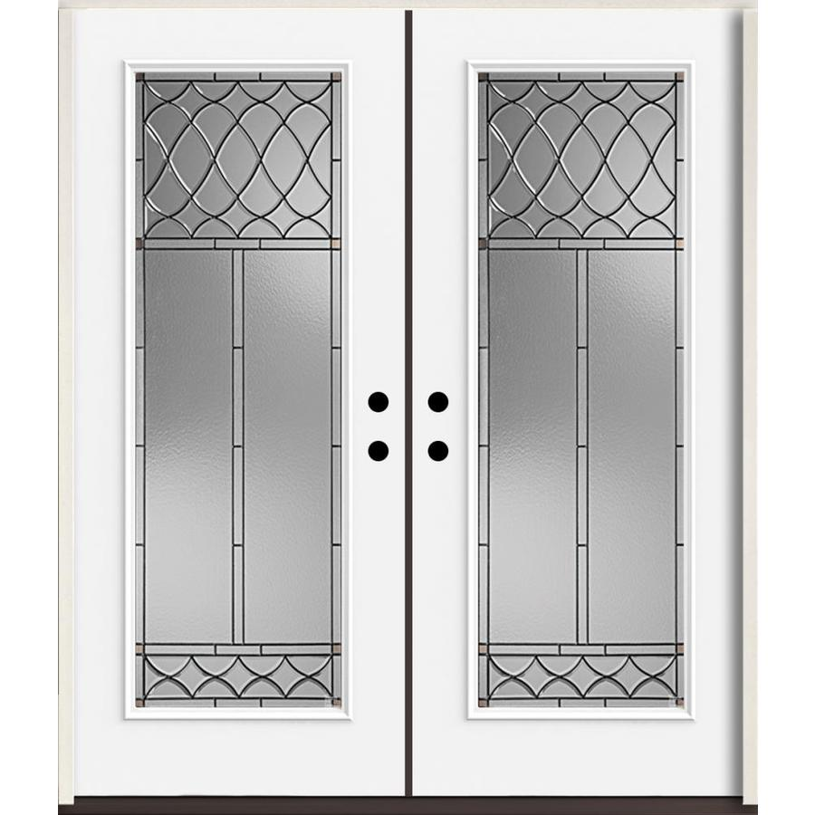 ReliaBilt Sheldon Full Lite Decorative Glass Left-Hand Inswing Fiberglass Prehung Double Entry Door with Insulating Core (Common: 72-in X 80-in; Actual: 73.875-in x 81.75-in)