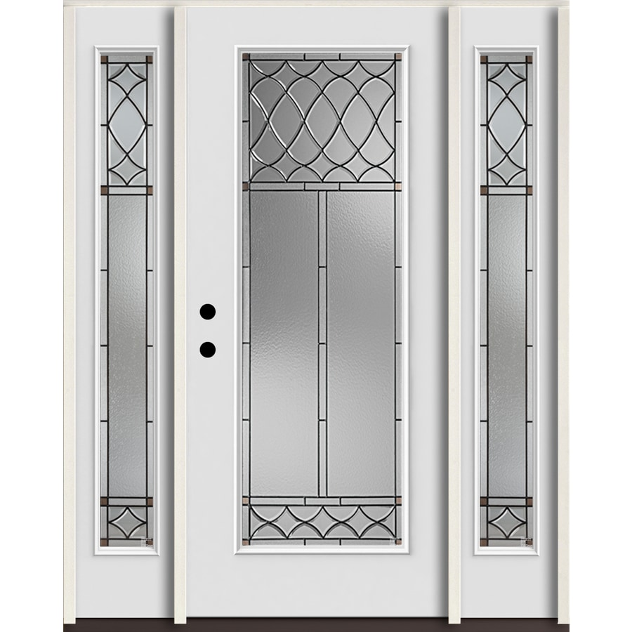 Shop reliabilt sheldon full lite decorative glass right hand inswing arctic white painted for Reliabilt decorative glass interior doors