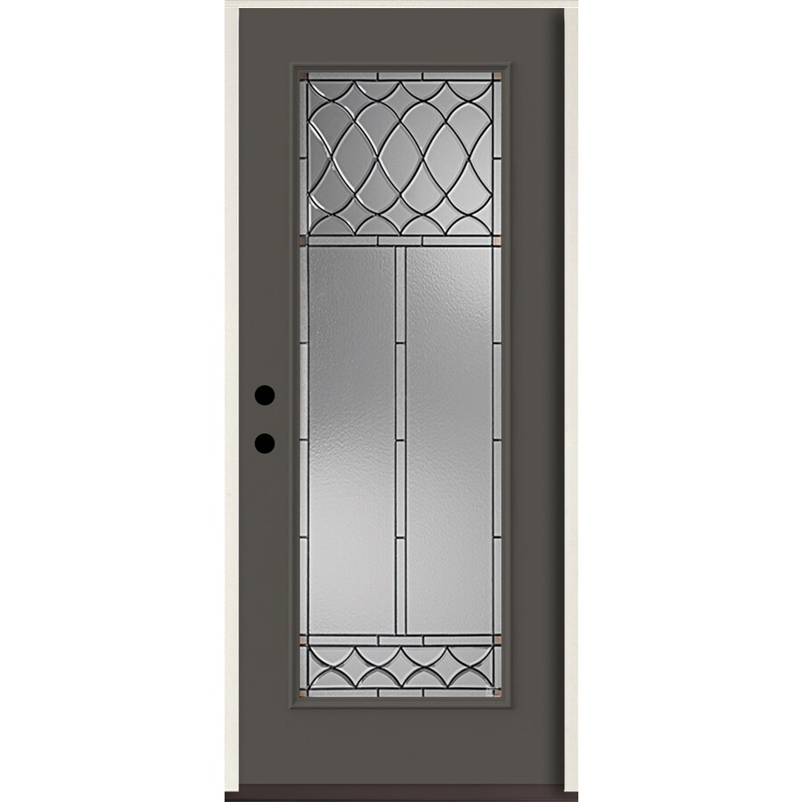 ReliaBilt Sheldon Full Lite Decorative Glass Right-Hand Inswing Thunder Gray Painted Fiberglass Prehung Entry Door with Insulating Core (Common: 36-in X 80-in; Actual: 37.5-in x 81.75-in)
