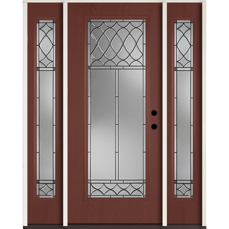 ReliaBilt Sheldon Full Lite Decorative Glass Left-Hand Inswing Wineberry Stained Fiberglass Prehung Entry Door with Sidelights and Insulating Core (Common: 60-in X 80-in; Actual: 64.5-in x 81.75-in)