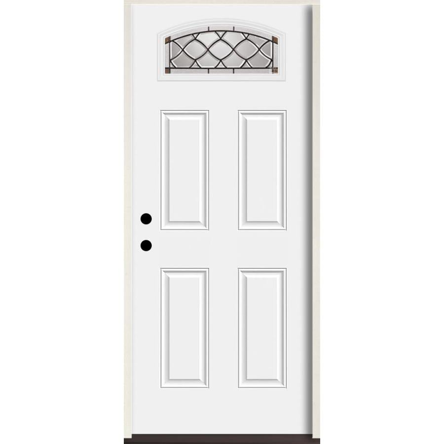 Reliabilt Sheldon 1 4 Lite Decorative Gl Right Hand Inswing Fibergl Prehung Entry Door With Insulating Core Common 36 In X 80 Actual 37 5