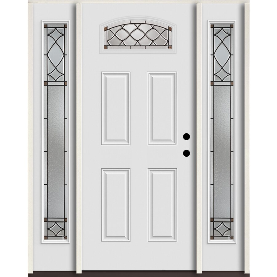 ReliaBilt Sheldon 1/4 Lite Decorative Glass Left-Hand Inswing Arctic White Painted Fiberglass Prehung Entry Door with Sidelights and Insulating Core (Common: 60-in X 80-in; Actual: 64.5-in x 81.75-in)