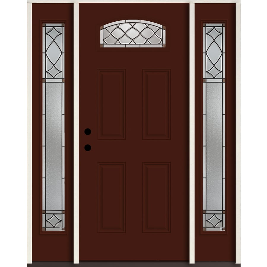 Shop reliabilt sheldon 1 4 lite decorative glass right for Fiberglass entry doors with sidelights