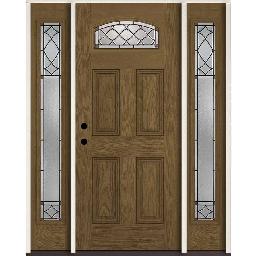 ReliaBilt Sheldon 1/4 Lite Decorative Glass Right Hand Inswing Walnut  Stained Fiberglass Prehung