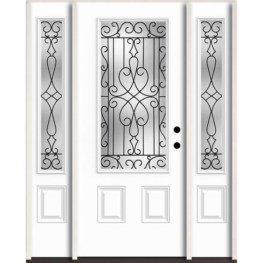 ReliaBilt Wyngate 3/4 Lite Decorative Glass Left Hand Inswing Fiberglass  Prehung Entry Door