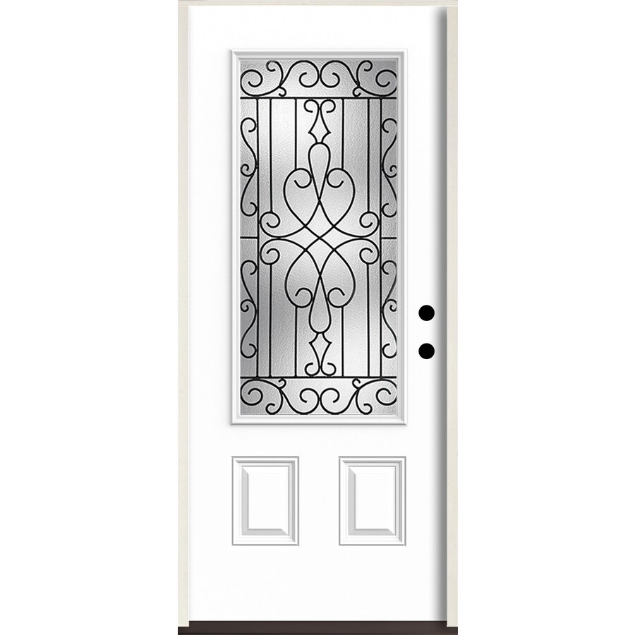 ReliaBilt Wyngate 3/4 Lite Decorative Glass Left-Hand Inswing Modern White Painted Fiberglass Prehung Entry Door with Insulating Core (Common: 36-in X 80-in; Actual: 37.5-in x 81.75-in)