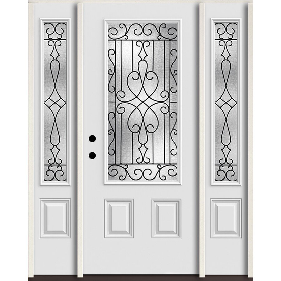 ReliaBilt Wyngate 3/4 Lite Decorative Glass Right-Hand Inswing Arctic White Painted Fiberglass Prehung Entry Door with Sidelights and Insulating Core (Common: 60-in X 80-in; Actual: 64.5-in x 81.75-in)