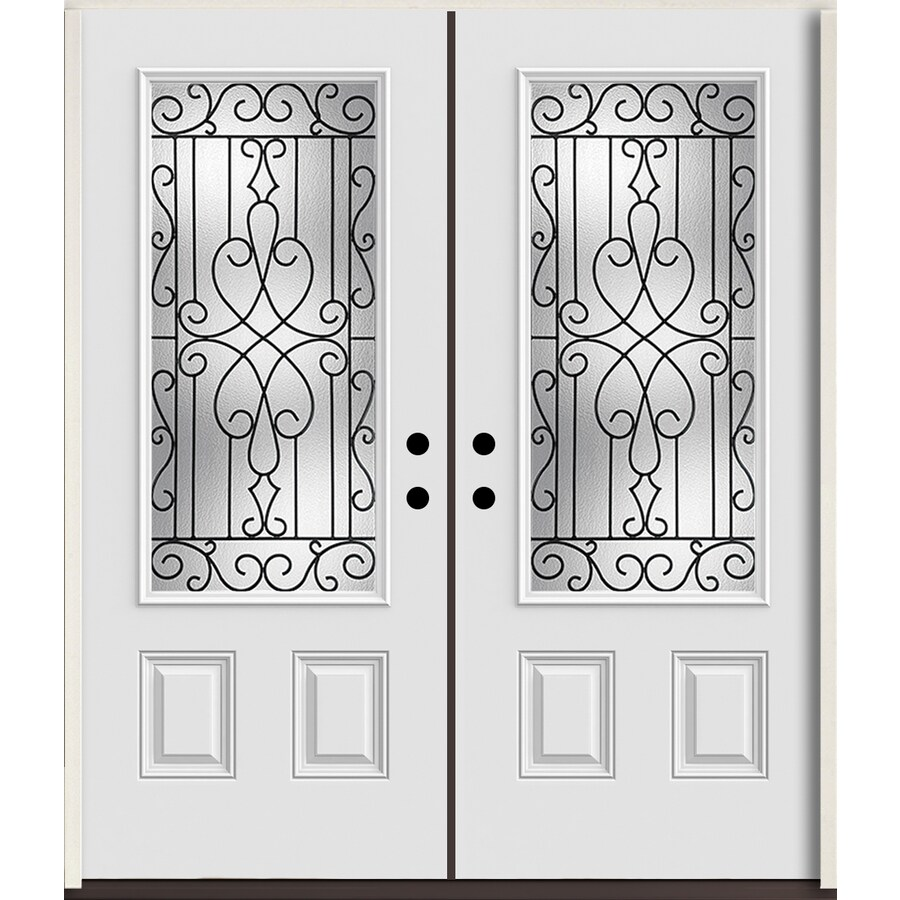 ReliaBilt Wyngate 3/4 Lite Decorative Glass Right-Hand Inswing Arctic White Painted Fiberglass Prehung Double Entry Door with Insulating Core (Common: 72-in X 80-in; Actual: 73.875-in x 81.75-in)