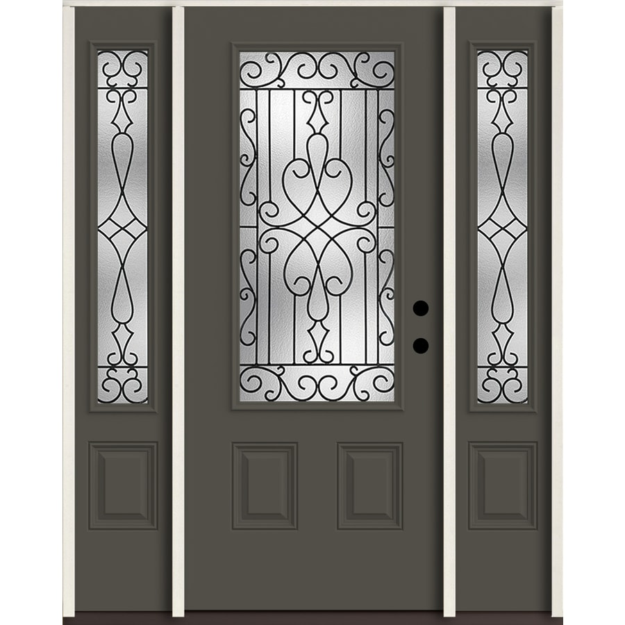 ReliaBilt Wyngate 3/4 Lite Decorative Glass Left-Hand Inswing Thunder Gray Painted Fiberglass Prehung Entry Door with Sidelights and Insulating Core (Common: 60-in X 80-in; Actual: 64.5-in x 81.75-in)