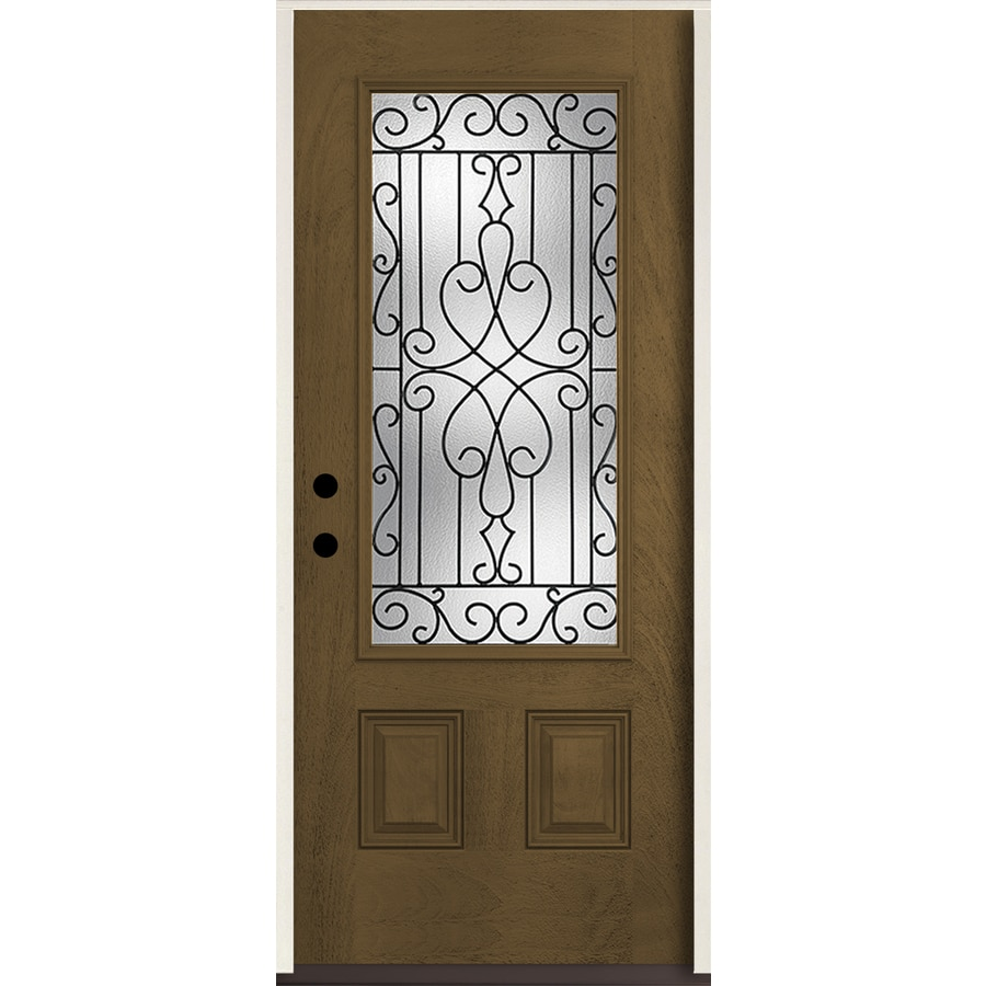 ReliaBilt Wyngate 3/4 Lite Decorative Glass Right-Hand Inswing Walnut Stained Fiberglass Prehung Entry Door with Insulating Core (Common: 36-in X 80-in; Actual: 37.5-in x 81.75-in)
