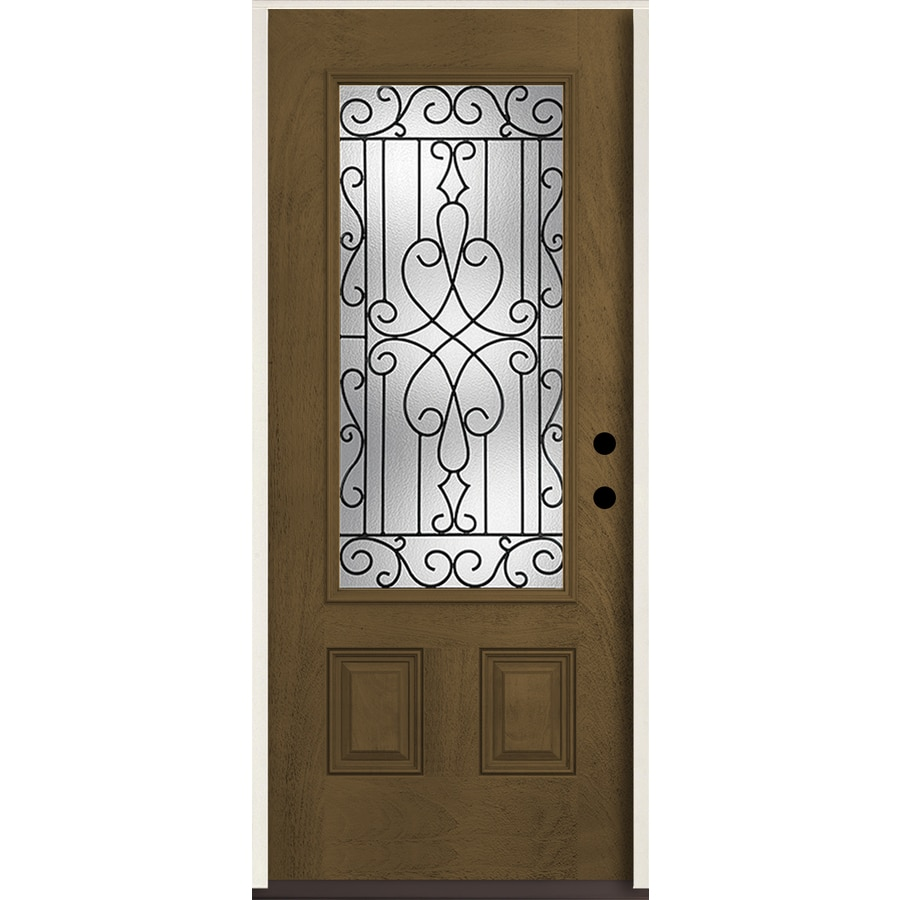 ReliaBilt Wyngate 3/4 Lite Decorative Glass Left-Hand Inswing Walnut Stained Fiberglass Prehung Entry Door with Insulating Core (Common: 36-in X 80-in; Actual: 37.5-in x 81.75-in)