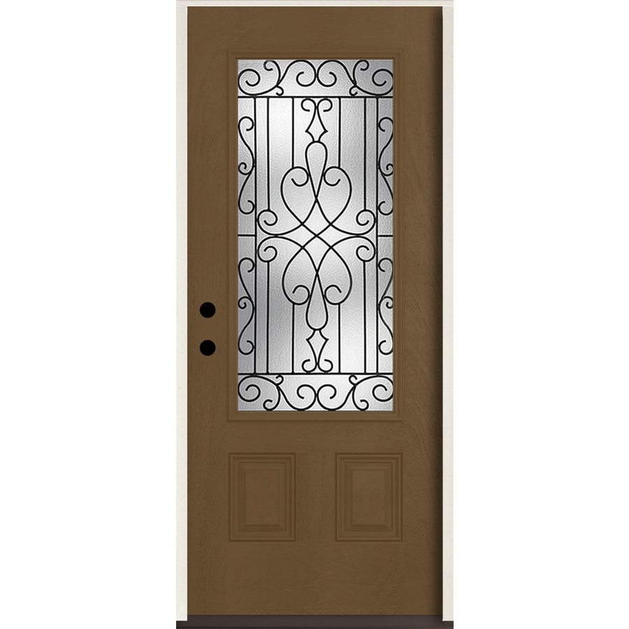 ReliaBilt Wyngate 3/4 Lite Decorative Glass Right-Hand Inswing Woodhaven Stained Fiberglass Prehung Entry Door with Insulating Core (Common: 36-in X 80-in; Actual: 37.5-in x 81.75-in)