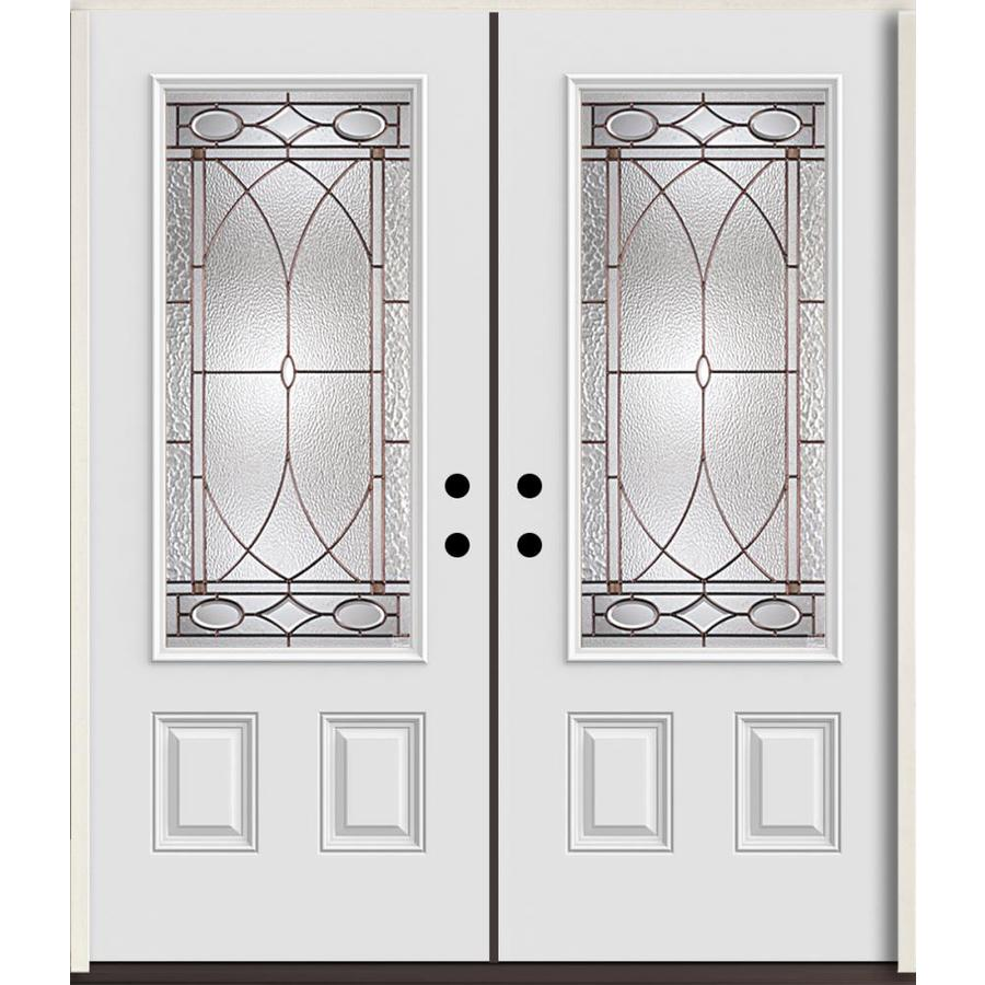 ReliaBilt Hutton 3/4 Lite Decorative Glass Left-Hand Inswing Fiberglass Prehung Double Entry Door with Insulating Core (Common: 72-in X 80-in; Actual: 73.875-in x 81.75-in)