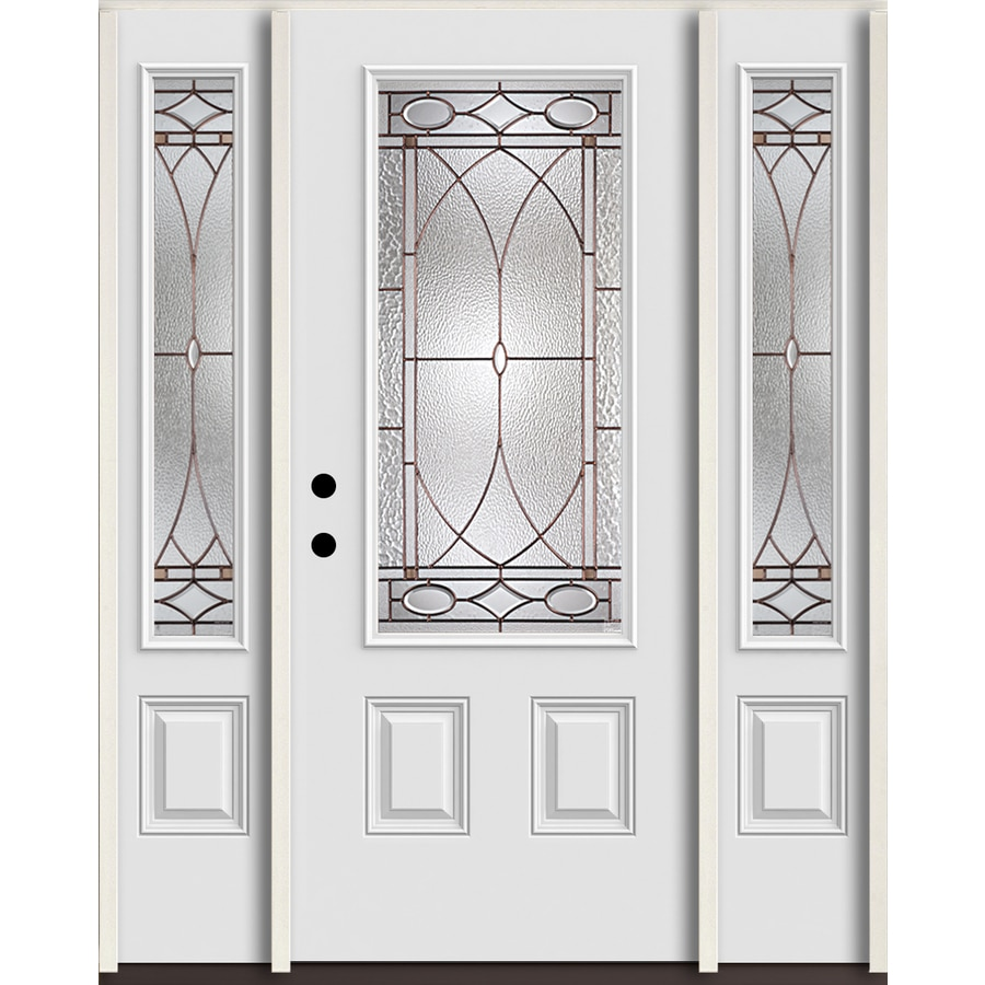 ReliaBilt Hutton 3/4 Lite Decorative Glass Right-Hand Inswing Arctic White Painted Fiberglass Prehung Entry Door with Sidelights and Insulating Core (Common: 60-in X 80-in; Actual: 64.5-in x 81.75-in)