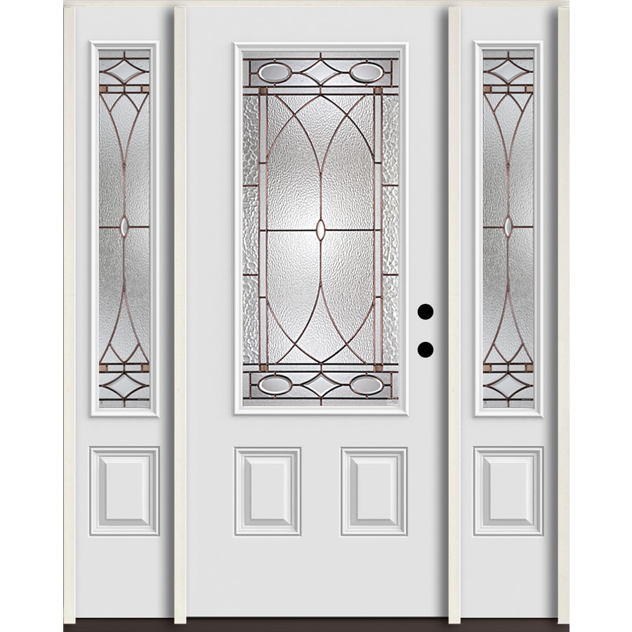 ReliaBilt Hutton 3/4 Lite Decorative Glass Left-Hand Inswing Arctic White Painted Fiberglass Prehung Entry Door with Sidelights and Insulating Core (Common: 60-in X 80-in; Actual: 64.5-in x 81.75-in)