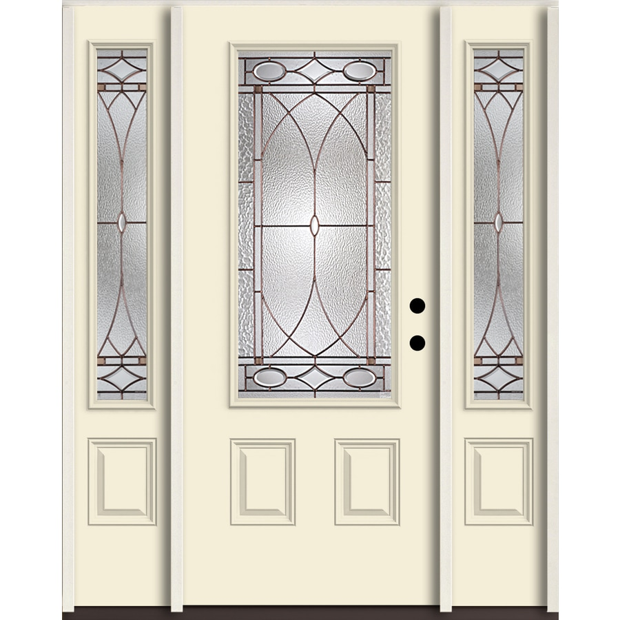 ReliaBilt Hutton 3/4 Lite Decorative Glass Left-Hand Inswing Bisque Painted Fiberglass Prehung Entry Door with Sidelights and Insulating Core (Common: 60-in X 80-in; Actual: 64.5-in x 81.75-in)