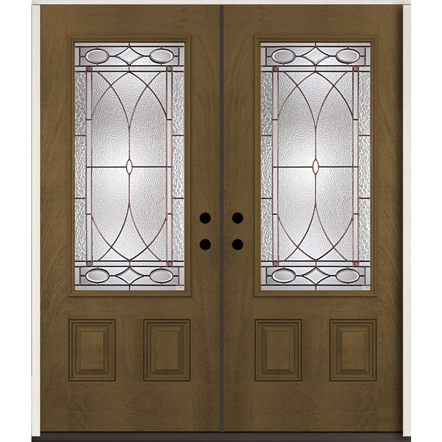 ReliaBilt Hutton 3/4 Lite Decorative Glass Right-Hand Inswing Walnut Stained Fiberglass Prehung Double Entry Door with Insulating Core (Common: 72-in X 80-in; Actual: 73.875-in x 81.75-in)