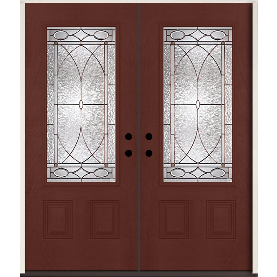 ReliaBilt Hutton 3/4 Lite Decorative Glass Right-Hand Inswing Wineberry Stained Fiberglass Prehung Double Entry Door with Insulating Core (Common: 72-in X 80-in; Actual: 73.875-in x 81.75-in)