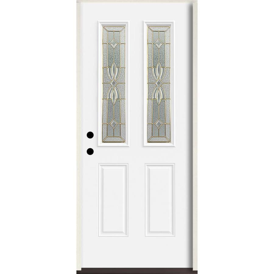 ReliaBilt Laurel Half Lite Decorative Glass Right-Hand Inswing Fiberglass Prehung Entry Door with Insulating Core (Common: 36-in X 80-in; Actual: 37.5-in x 81.75-in)