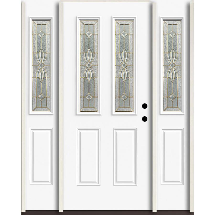 Shop reliabilt laurel half lite decorative glass left hand for Half glass exterior door