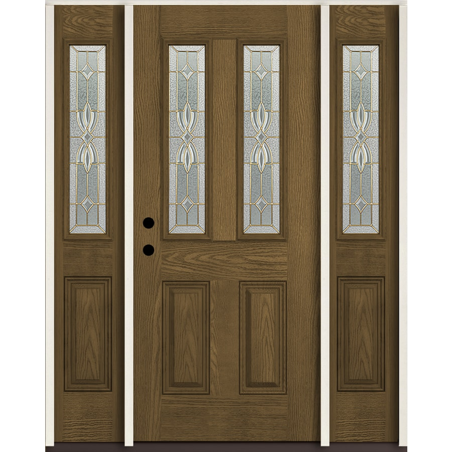 ReliaBilt Laurel Twin Lite Decorative Glass Right Hand Inswing Walnut  Stained Fiberglass Prehung Entry Door