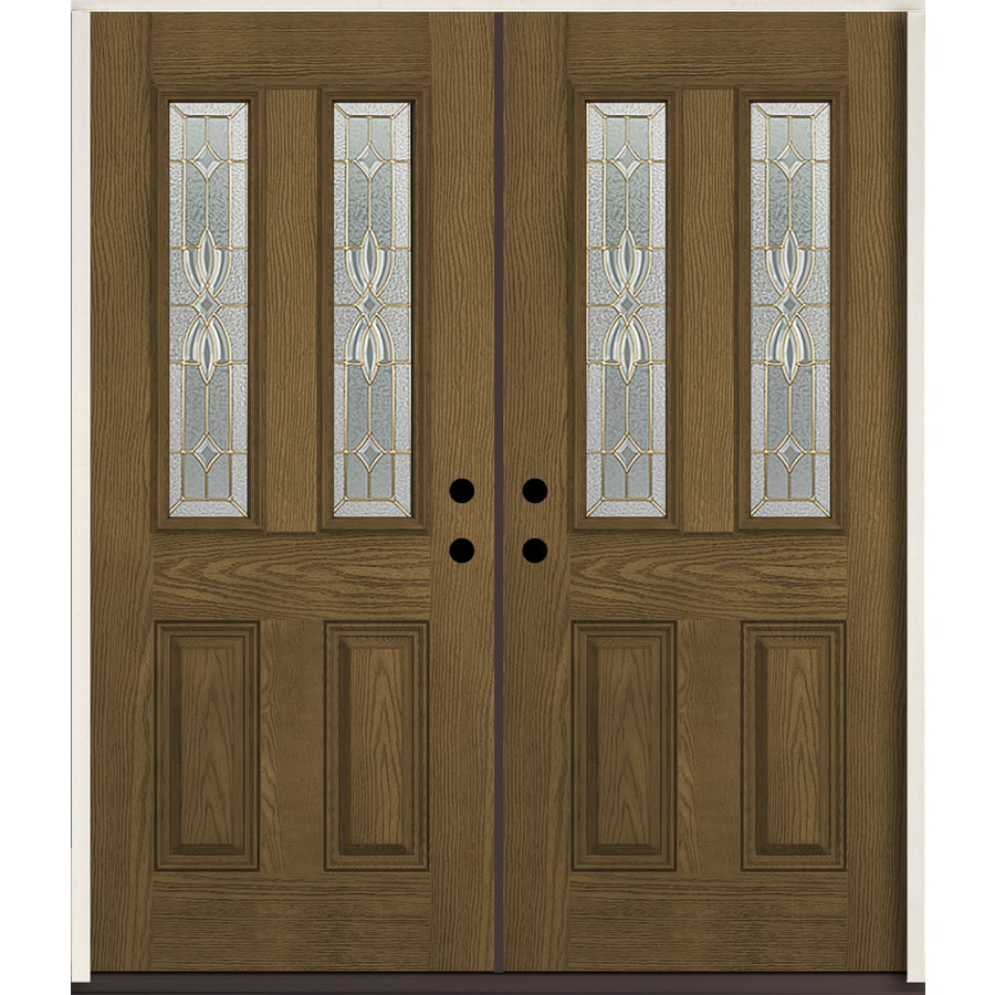 ReliaBilt Laurel Half Lite Decorative Glass Right-Hand Inswing Walnut Stained Fiberglass Prehung Double Entry Door with Insulating Core (Common: 72-in X 80-in; Actual: 73.875-in x 81.75-in)