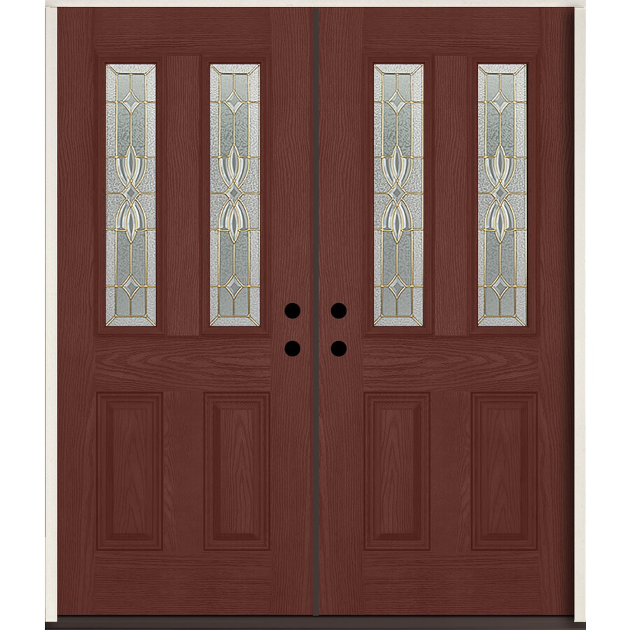 ReliaBilt Laurel Half Lite Decorative Glass Right-Hand Inswing Wineberry Stained Fiberglass Prehung Double Entry Door with Insulating Core (Common: 72-in X 80-in; Actual: 73.875-in x 81.75-in)