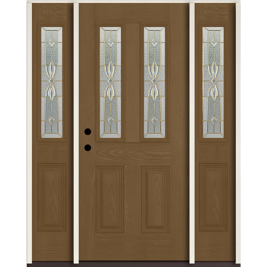ReliaBilt Laurel Half Lite Decorative Glass Right-Hand Inswing Woodhaven Stained Fiberglass Prehung Entry Door with Sidelights and Insulating Core (Common: 60-in X 80-in; Actual: 64.5-in x 81.75-in)