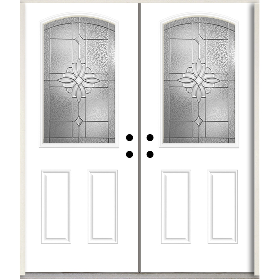 ReliaBilt Laurel Half Lite Decorative Glass Right-Hand Inswing Modern White Painted Fiberglass Prehung Double Entry Door with Insulating Core (Common: 72-in X 80-in; Actual: 73.875-in x 81.75-in)