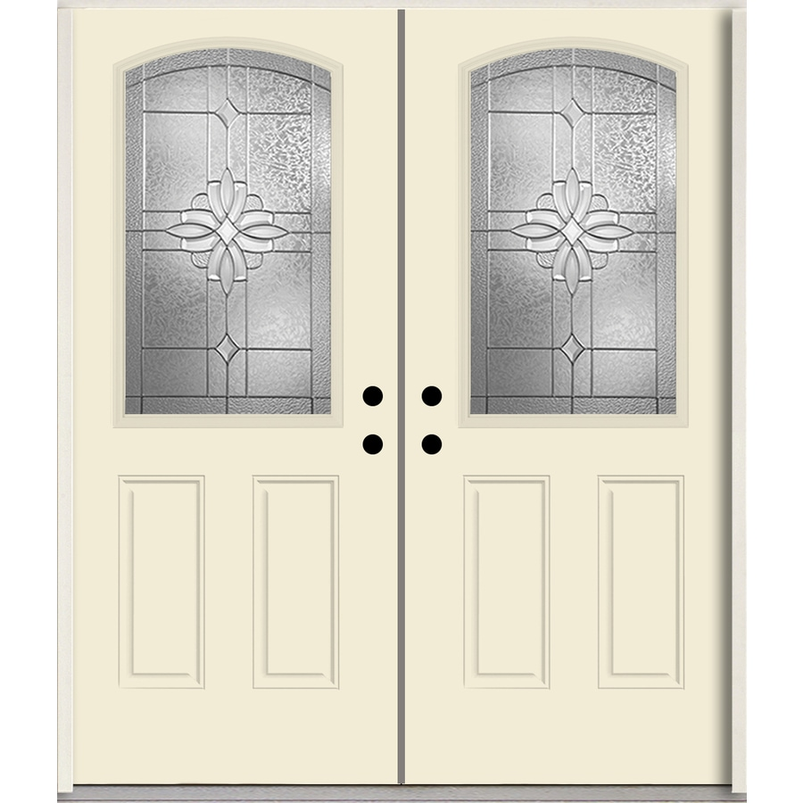 ReliaBilt Laurel Half Lite Decorative Glass Right-Hand Inswing Bisque Painted Fiberglass Prehung Double Entry Door with Insulating Core (Common: 72-in X 80-in; Actual: 73.875-in x 81.75-in)