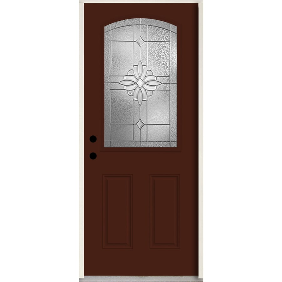ReliaBilt Laurel Half Lite Decorative Glass Right-Hand Inswing Currant Painted Fiberglass Prehung Entry Door with Insulating Core (Common: 36-in X 80-in; Actual: 37.5-in x 81.75-in)