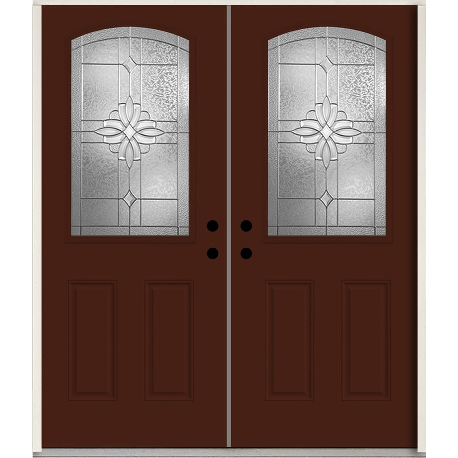ReliaBilt Laurel Half Lite Decorative Glass Left-Hand Inswing Currant Painted Fiberglass Prehung Double Entry Door with Insulating Core (Common: 72-in X 80-in; Actual: 73.875-in x 81.75-in)