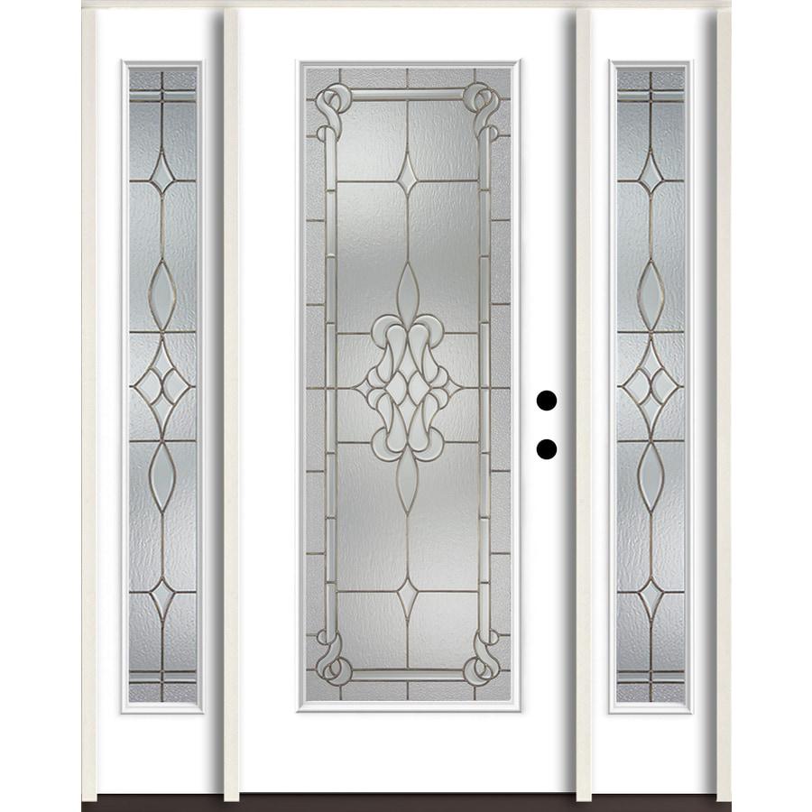 ReliaBilt Stately Full Lite Decorative Glass Left Hand Inswing Modern White  Painted Fiberglass Prehung Entry