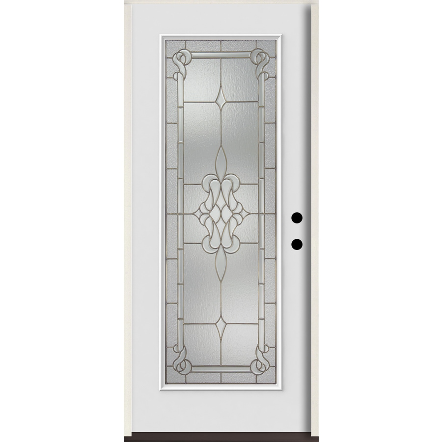ReliaBilt Stately Full Lite Decorative Glass Left-Hand Inswing Arctic White Painted Fiberglass Prehung Entry Door with Insulating Core (Common: 36-in X 80-in; Actual: 37.5-in x 81.75-in)