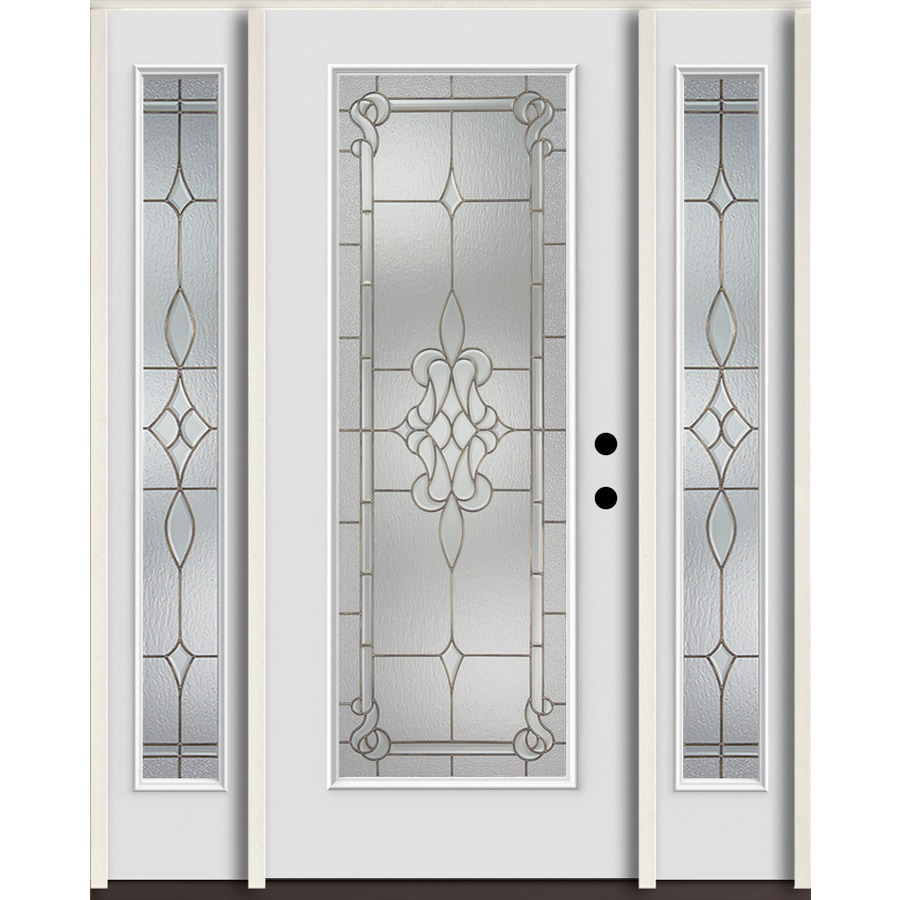ReliaBilt Stately Full Lite Decorative Glass Left-Hand Inswing Arctic White Painted Fiberglass Prehung Entry Door with Sidelights and Insulating Core (Common: 60-in X 80-in; Actual: 64.5-in x 81.75-in)