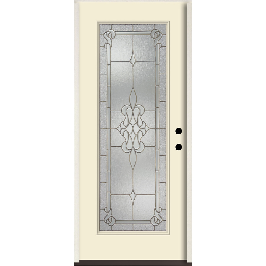 ReliaBilt Stately Full Lite Decorative Glass Left-Hand Inswing Bisque Painted Fiberglass Prehung Entry Door with Insulating Core (Common: 36-in X 80-in; Actual: 37.5-in x 81.75-in)