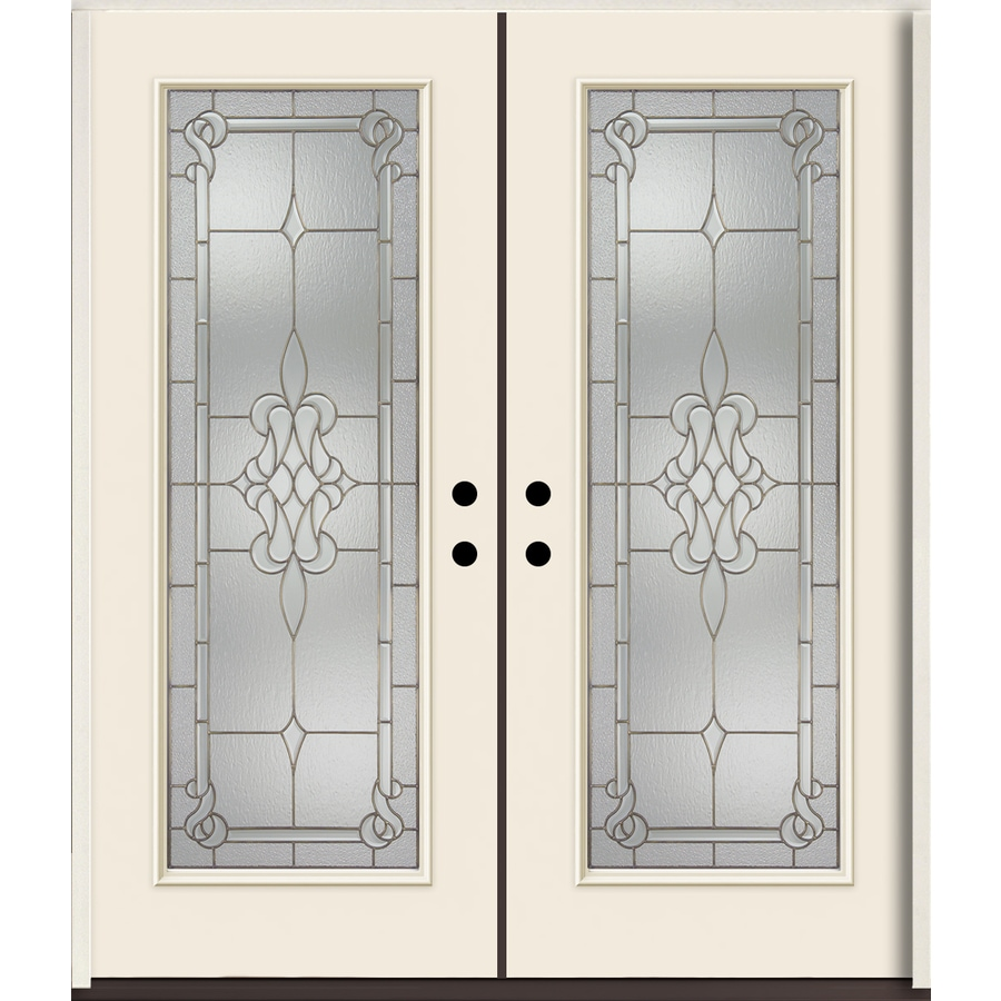 ReliaBilt Stately Full Lite Decorative Glass Right-Hand Inswing Bisque Painted Fiberglass Prehung Double Entry Door with Insulating Core (Common: 72-in X 80-in; Actual: 73.875-in x 81.75-in)