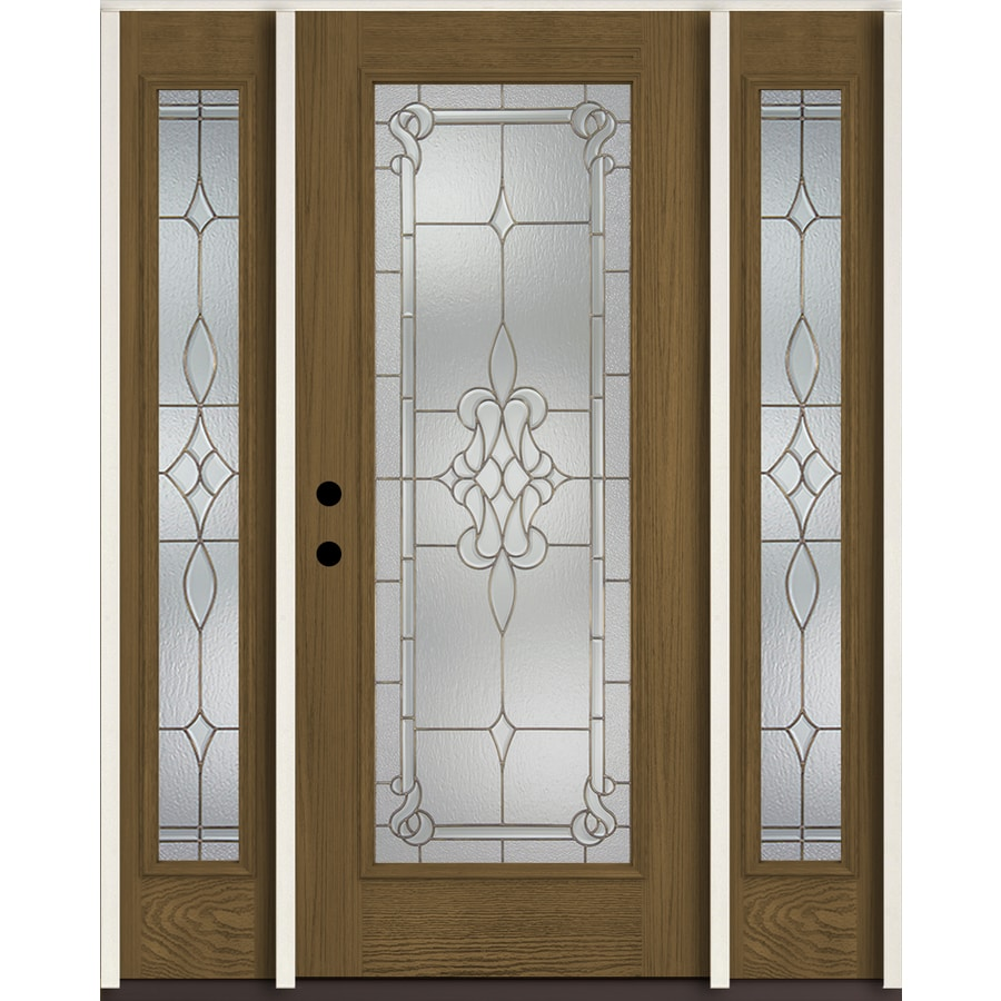 ReliaBilt Stately Full Lite Decorative Glass Right-Hand Inswing Walnut Stained Fiberglass Prehung Entry Door with Sidelights and Insulating Core (Common: 60-in X 80-in; Actual: 64.5-in x 81.75-in)