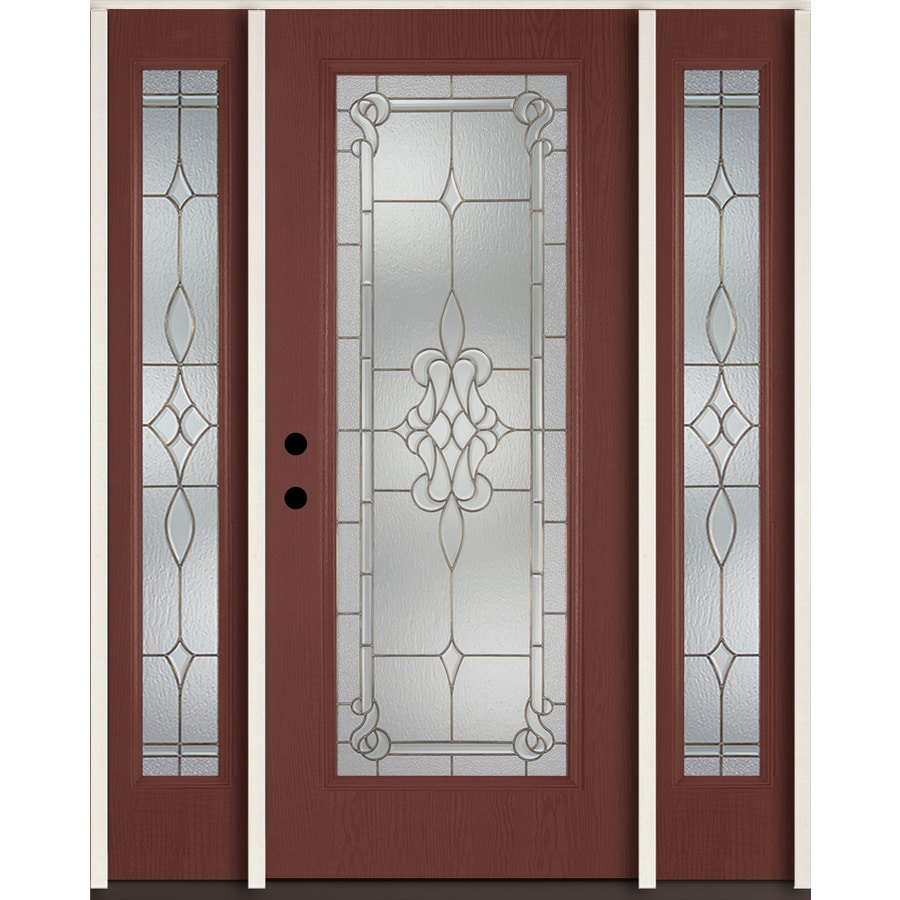 ReliaBilt Stately Full Lite Decorative Glass Right Hand Inswing Wineberry  Stained Fiberglass Prehung Entry Door