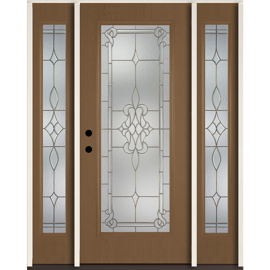 ReliaBilt Stately Full Lite Decorative Glass Right Hand Inswing Woodhaven  Stained Fiberglass Prehung Entry Door